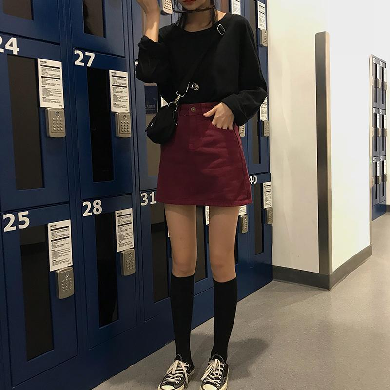 VINTAGE BURGUNDY MINI DENIM SKIRT-Cosmique Studio - Aesthetic Clothing