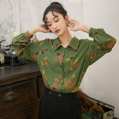 VINTAGE ELEGANT GREEN BLOUSE-Cosmique Studio-Aesthetic Clothing Store
