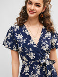 VINTAGE FLORAL PRINT V NECK RUFFLES MINI DRESS-Cosmique Studio-Aesthetic Clothing Store