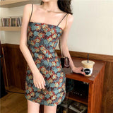 VINTAGE FLOWER PRINTING CASUAL SPAGHETTI STRAP MINI DRESS-Cosmique Studio