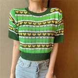 VINTAGE GREEN CROPPED SWEATER - Cosmique Studio