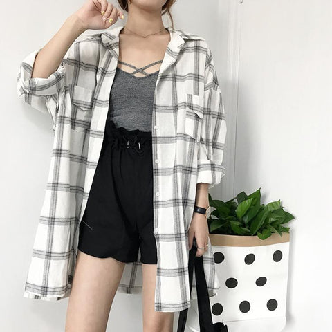 VINTAGE KOREAN PLAID SHIRT-Cosmique Studio-Aesthetic Clothing Store