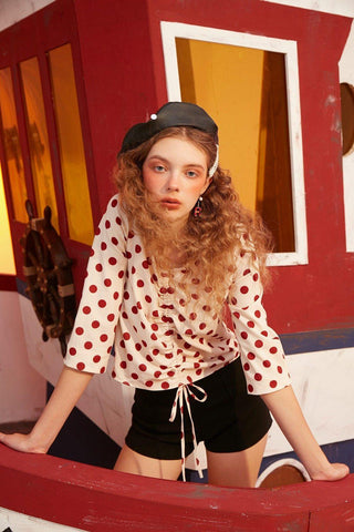 VINTAGE POLKA DOT DRAWSTRING BLOUSE - Cosmique Studio