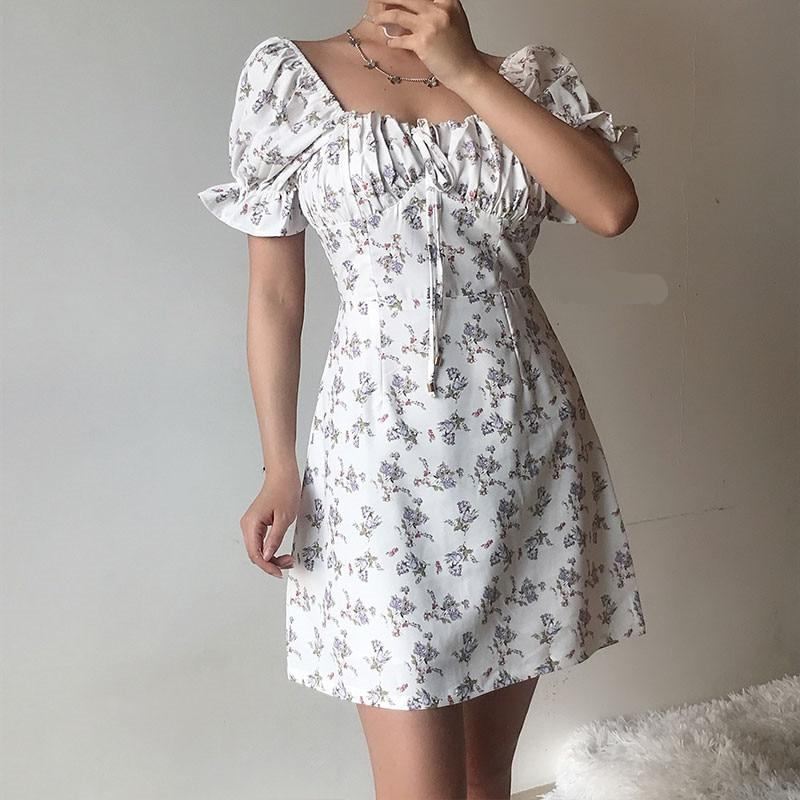 VINTAGE SQUARE COLLAR FLORAL MINI DRESS-Cosmique Studio-Aesthetic Clothing Store
