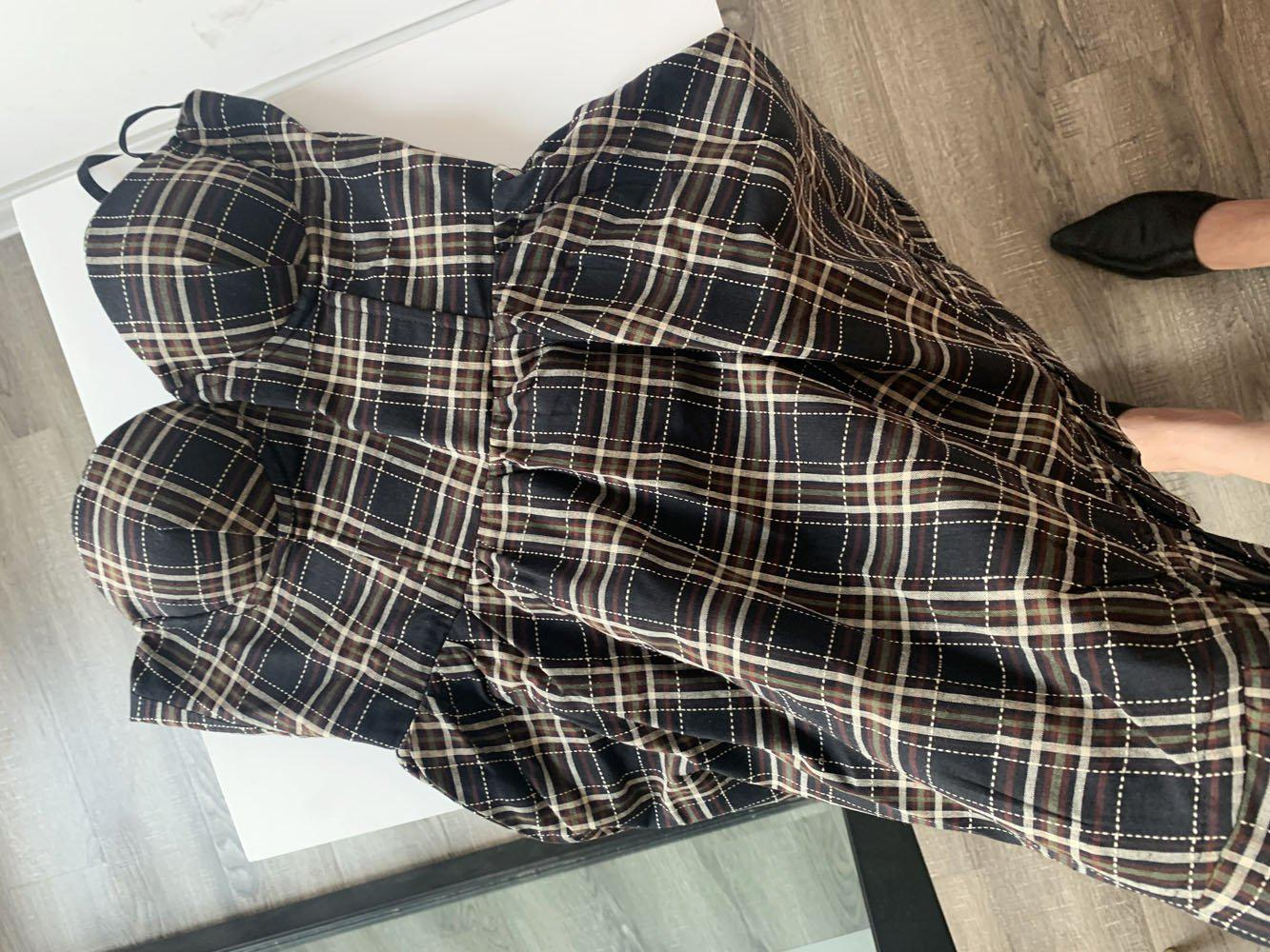 VINTAGE STRAP PLAID MINI DRESS-Cosmique Studio-aesthetic-clothing-store