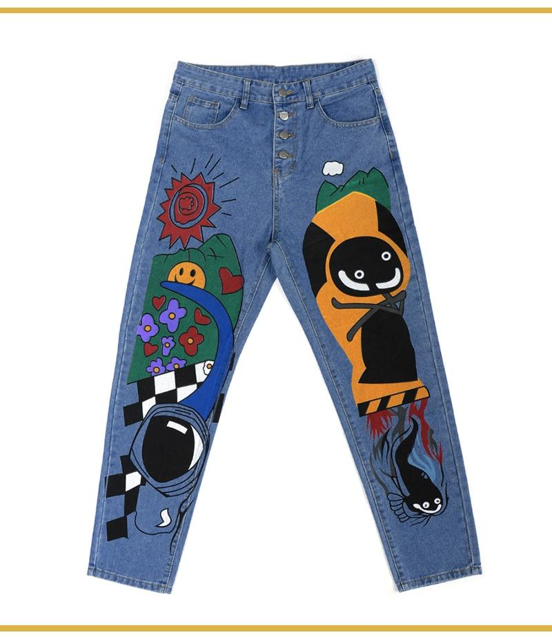 VINTAGE STYLE CARTOON PRINTED DENIM PANTS - Cosmique Studio