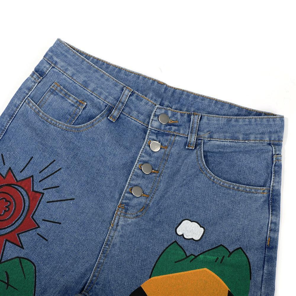 VINTAGE STYLE CARTOON PRINTED DENIM PANTS-Cosmique Studio-Aesthetic Clothing Store