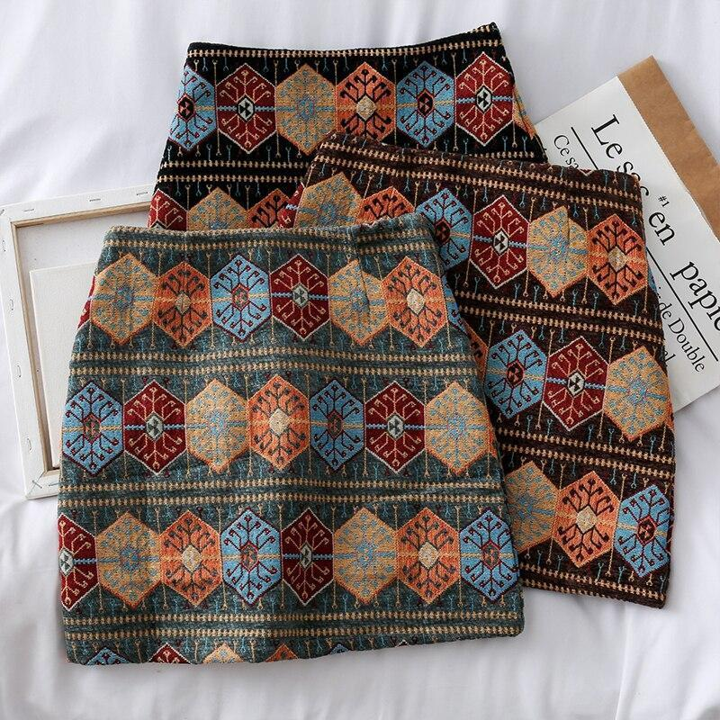 VINTAGE STYLE ETHNIC MINI SKIRT-Cosmique Studio-aesthetic-clothing-store