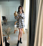 VINTAGE STYLISH PLAID LONG SLEEVE SHIRT-Cosmique Studio-Aesthetic Clothing Store