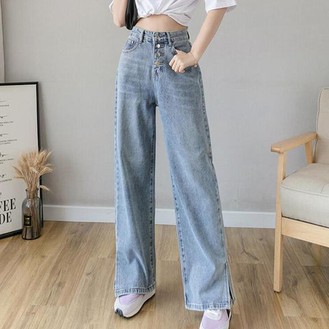 VINTAGE WIDE LEG DENIM PANTS - Cosmique Studio