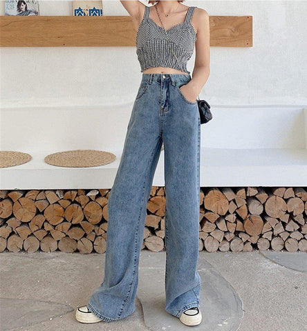 VINTAGE WIDE LEG HIGH WAIST DENIM PANTS - Cosmique Studio
