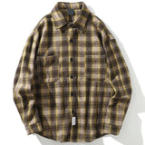 VINTAGE WOOL FLANNEL STRIPED SHIRT-Cosmique Studio-Aesthetic-Outfits
