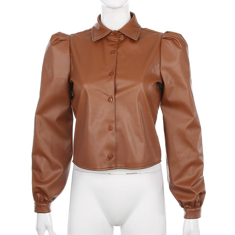 VSCO AESTHETIC PUFF SLEEVE LEATHER SHIRT - Cosmique Studio - Aesthetic Clothes