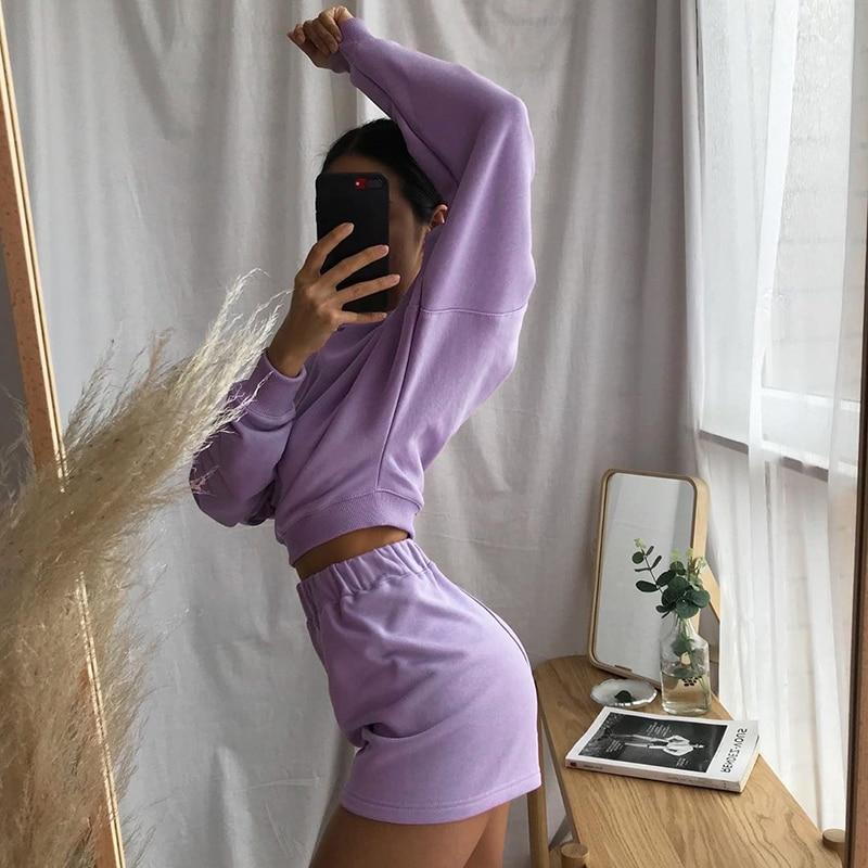 VSCO AESTHETIC SOLID TWO PIECE TRACKSUIT - Cosmique Studio - Aesthetic Clothes