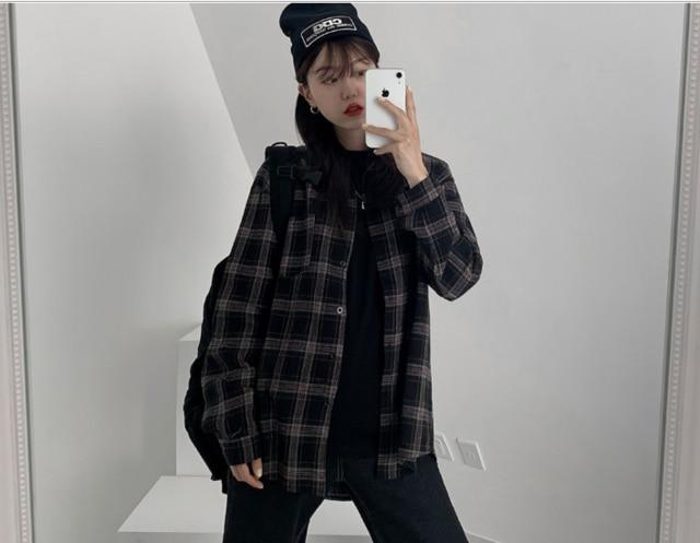 VSCO COTTON PLAID SHIRT - Cosmique Studio - Aesthetic Outfits