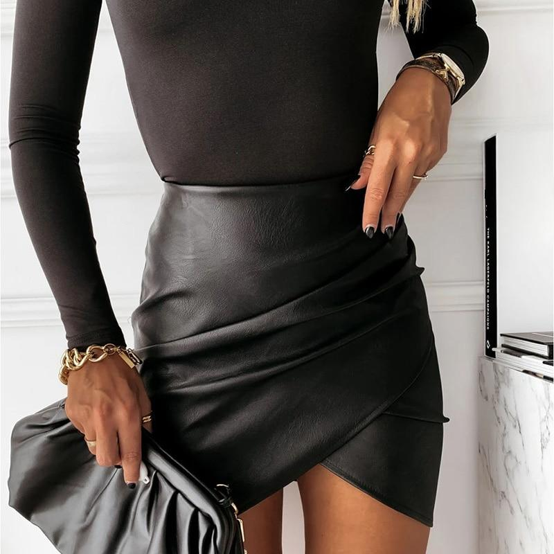 VSCO FAUX LEATHER MINI SKIRT - Cosmique Studio - Aesthetic Outfits