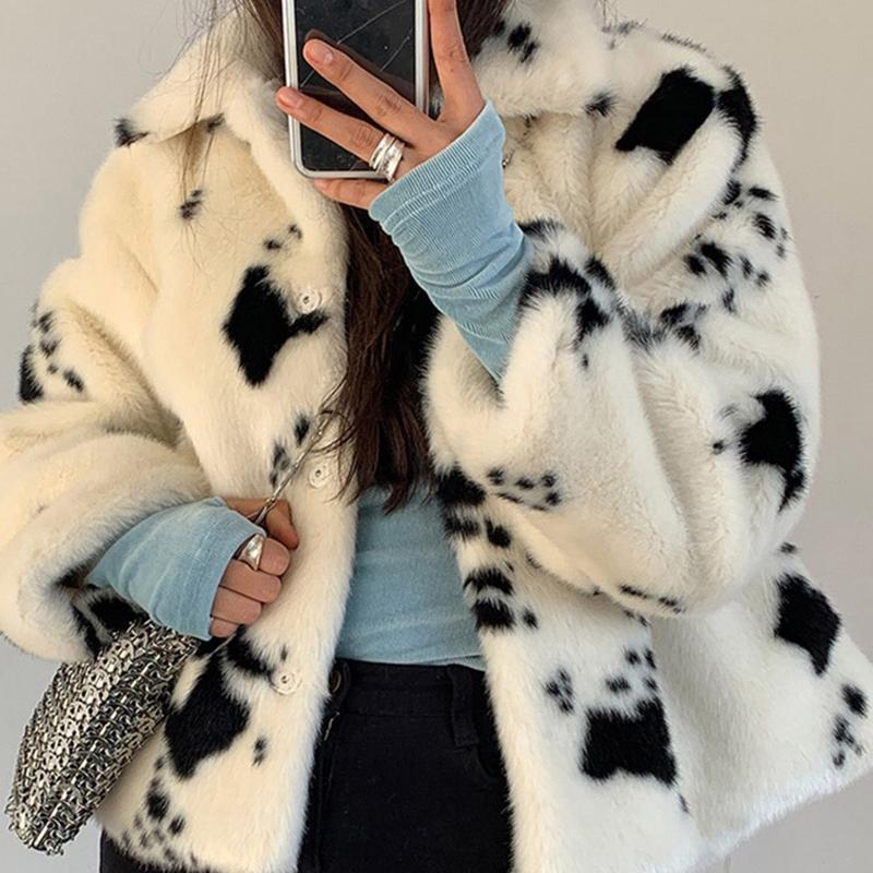VSCO GIRL COW FAUX FUR COAT - Cosmique Studio - Aesthetic Outfits