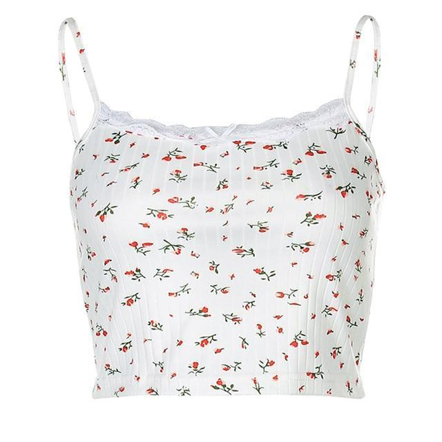 VSCO GIRL FLORAL PRINT SEXY CROP TOP-Cosmique Studio-Aesthetic Clothing Store