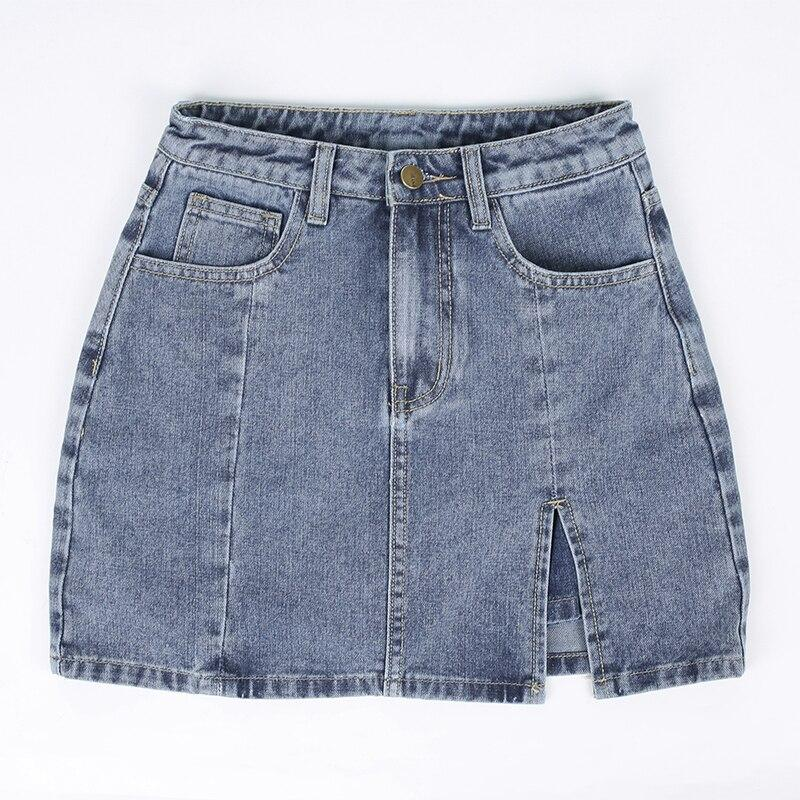 VSCO GIRL HIGH WAIST JEAN SKIRT - Cosmique Studio - Aesthetic Outfits