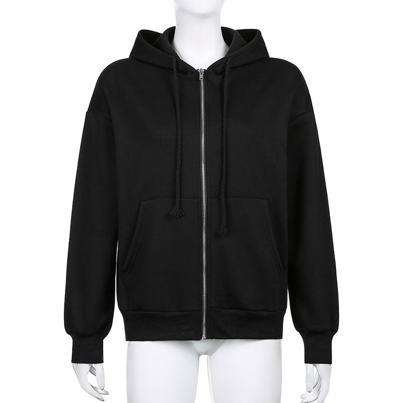 VSCO GIRL SOLID ZIPPER HOODIE - Cosmique Studio - Aesthetic Outfits