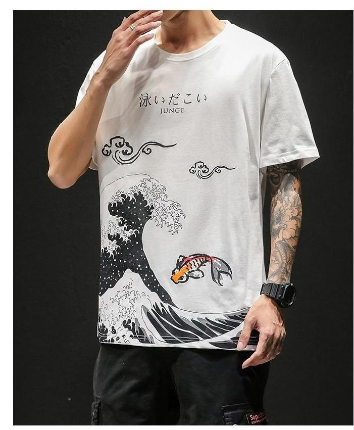 WAVE PRINT MEN TEE-Cosmique Studio-Aesthetic Clothing Store