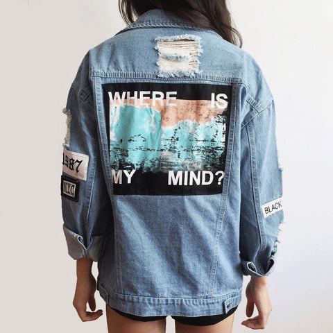 WHERE IS MY MIND DENIM JACKET-Cosmique Studio