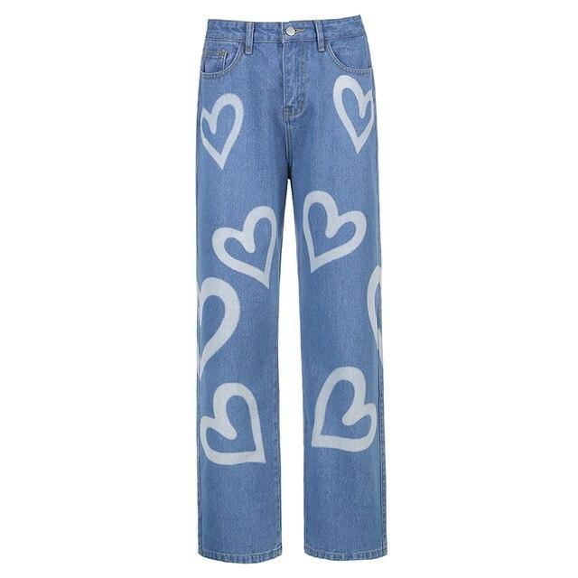 Y2K AESTHETIC HEART PRINTED JEANS - Cosmique Studio - Aesthetic Outfits
