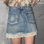 Y2K AESTHETIC LACE DENIM MINI SKIRT-Cosmique Studio-Aesthetic-Outfits