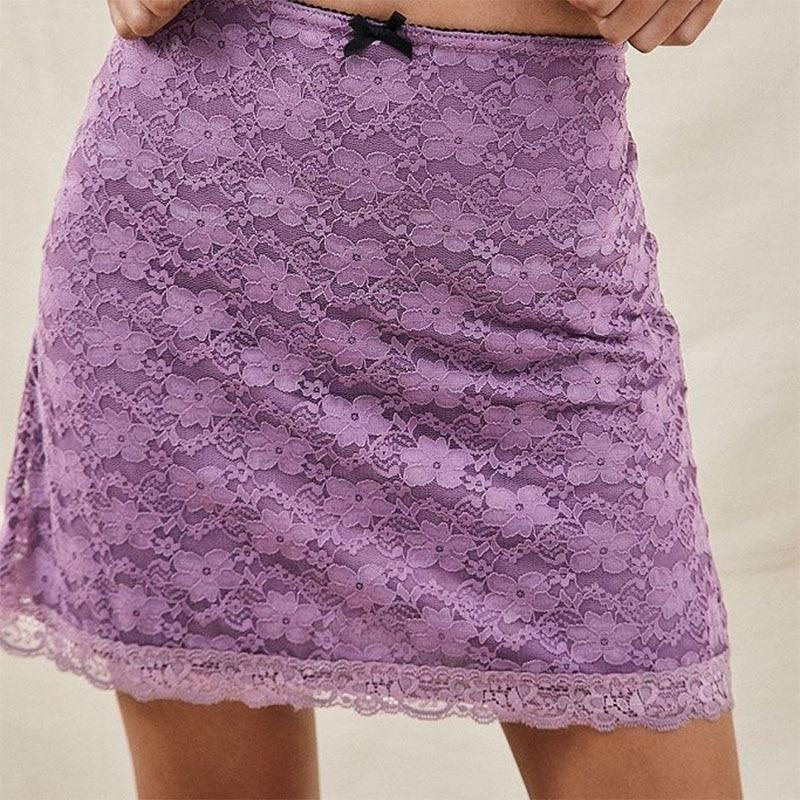 Y2K AESTHETIC LACE MINI SKIRT - Cosmique Studio - Aesthetic Clothes