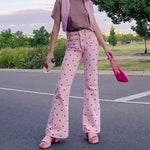 Y2K AESTHETIC PINK HEART PANTS-Cosmique Studio-Aesthetic-Outfits
