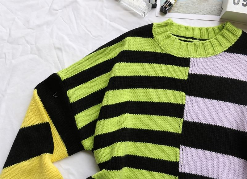 Y2K ASYMMETRIC STRIPED KNITTED SWEATER - Cosmique Studio - Aesthetic Outfits