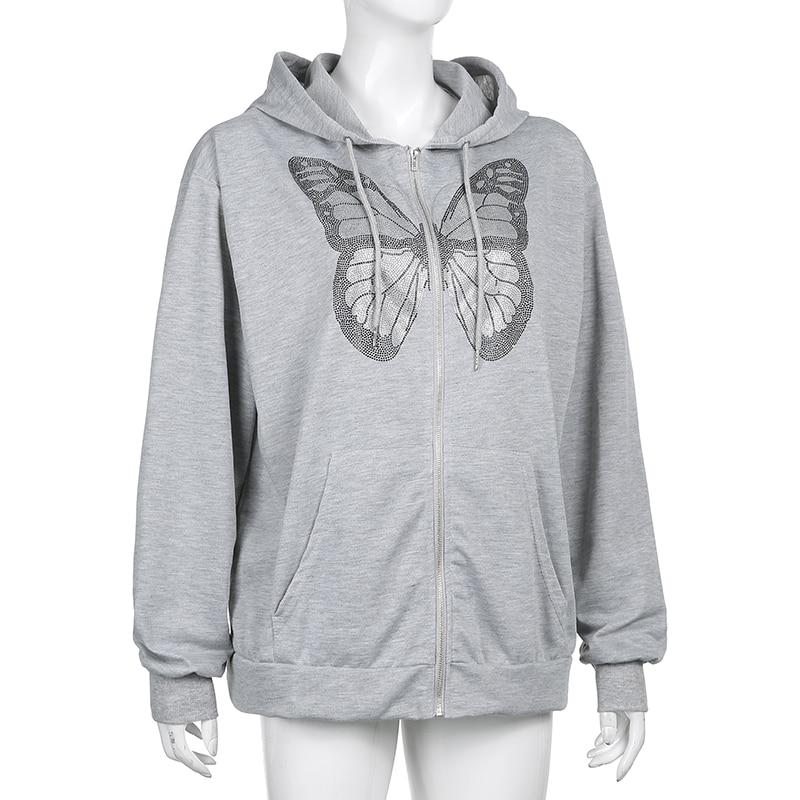 Y2K BUTTERFLY ZIPPER HOODIE - Cosmique Studio - Aesthetic Outfits