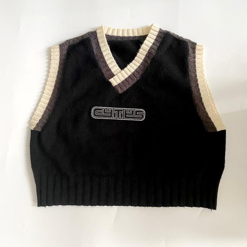 Y2K OVERSIZED VEST SWEATER - Cosmique Studio - Aesthetic Outfits