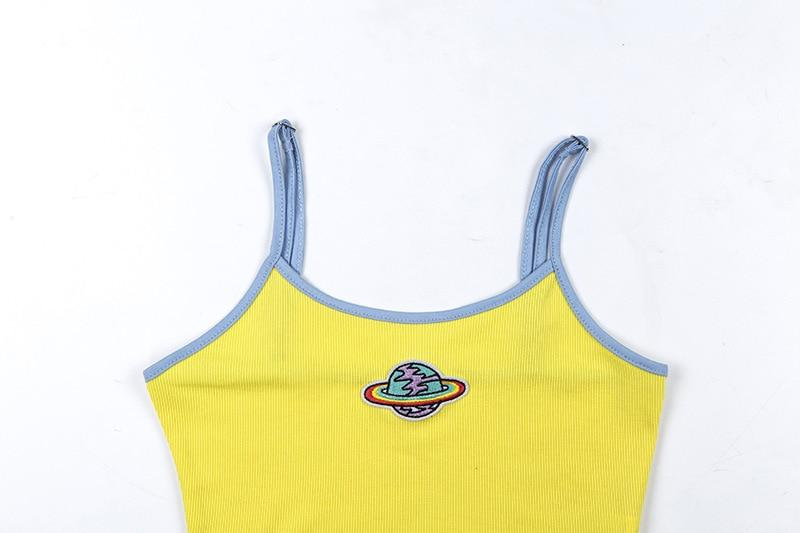 Y2K PLANET EMBROIDERY CROP TOP - Cosmique Studio - Aesthetic Outfits