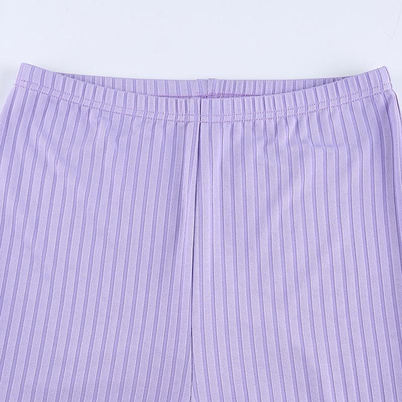 Y2K PURPLE RIBBED FLARE PANTS - Cosmique Studio - Aesthetic Outfits