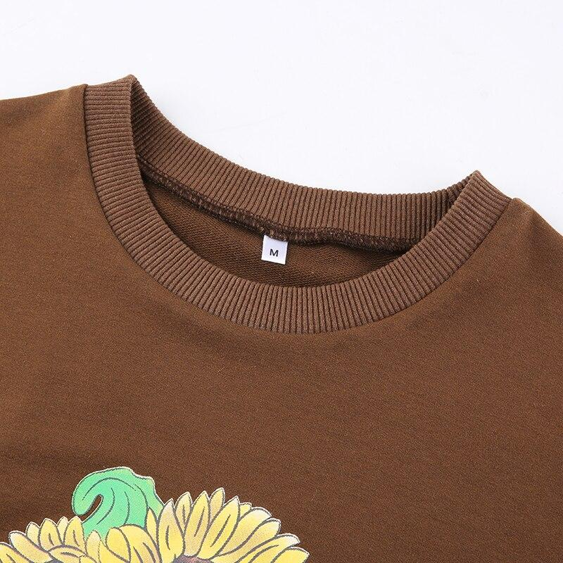 Y2K SUNFLOWER PRINTED SWEATSHIRT - Cosmique Studio - Aesthetic Outfits