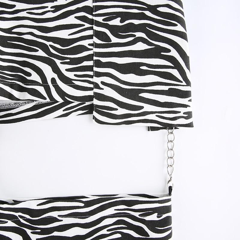 ZEBRA STYLE HOLLOW OUT CHAIN PANTS-Cosmique Studio-aesthetic-clothing-store