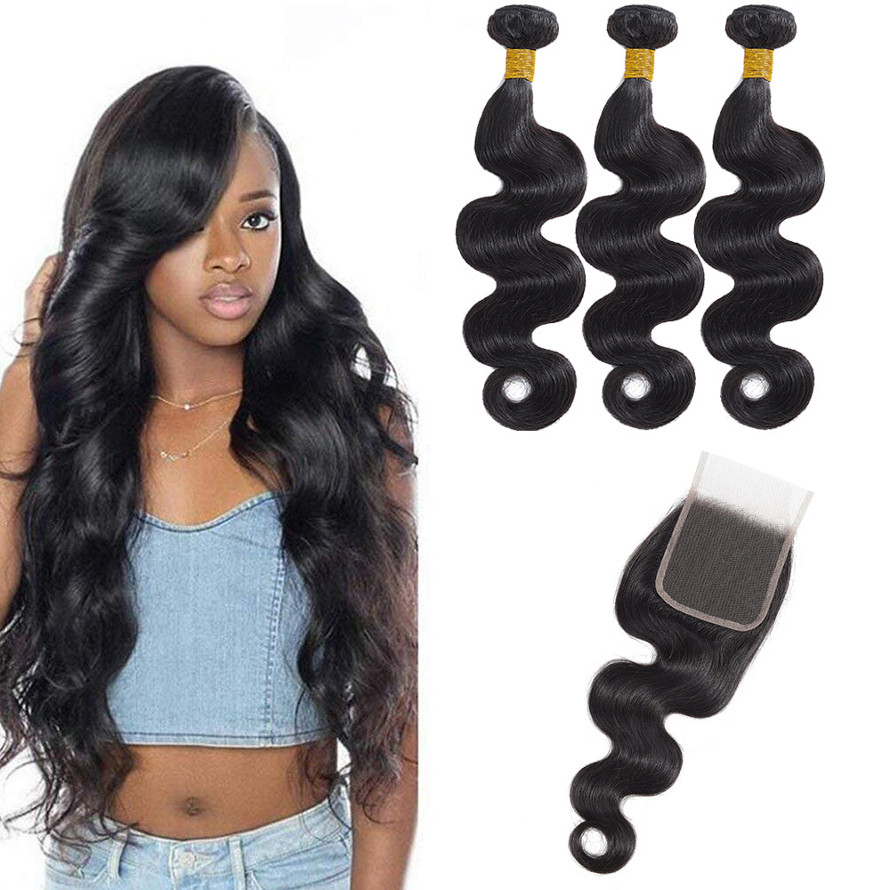 cheveux péruviens Closure Body Wave