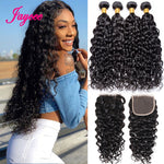 Jaycee Water Wave Bundles With Closure wet and wavy bundles With Closure Deep Wave Meche Bresilienne lot Mega Hair Cabelo Humano
