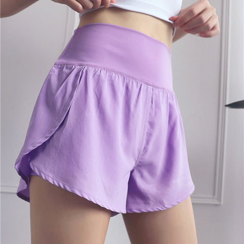 Purple Yoga Shorts for Women Sportswear Quick Dry Shorts Wide Waist Thin