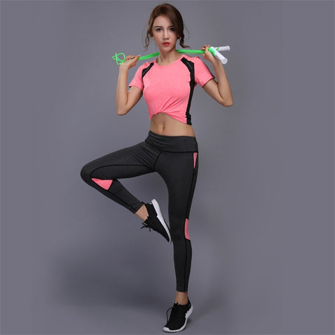 2Pcs Women Sport Suit Clothes Sports Top Shirt +High Waist Yoga