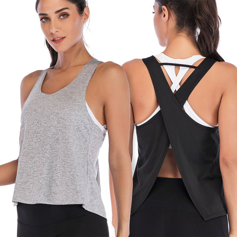 Plus Size Women Yoga Top Sports Shirt Sleeveless Back Cross Yoga
