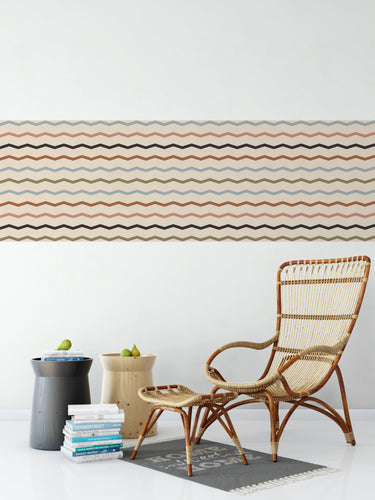 Nude Geometric Zig Zag Pattern - Wallpaper Border