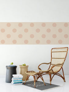 Peach Geometric Polkadot Pattern - Wallpaper Border