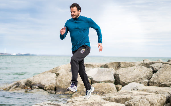 Sustainable men's workout clothes for running, yoga, gym, hiking, biking and more