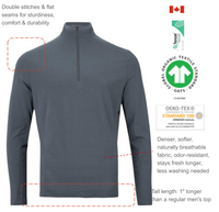 Active wear with denser, softer, naturally breathable fabric, odor-resistant, stays fresh longer, less washing needed