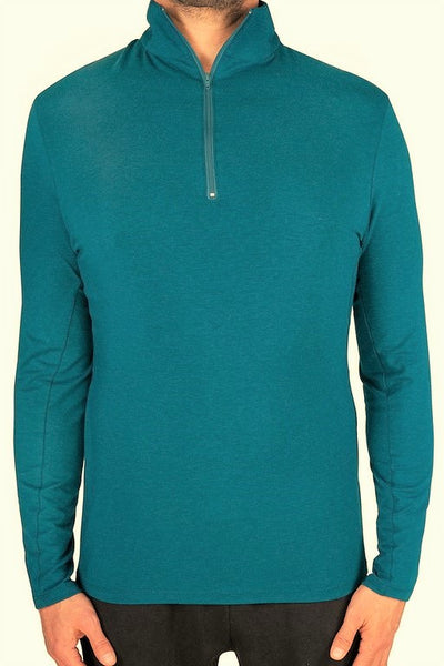 TENCEL™ & Organic Cotton Natural Fibers 1/4 Zip Men's Long Sleeve Shirt - Blue Teal