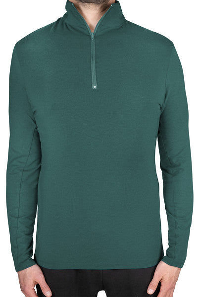 Tencel and organic cotton sweat-wicking, breathable, eco-friendly workout men's long sleeve zip shirt