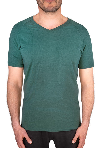 TENCEL™ & Organic Cotton Natural Fibers Men's Short Sleeve V-Neck Tee - Green