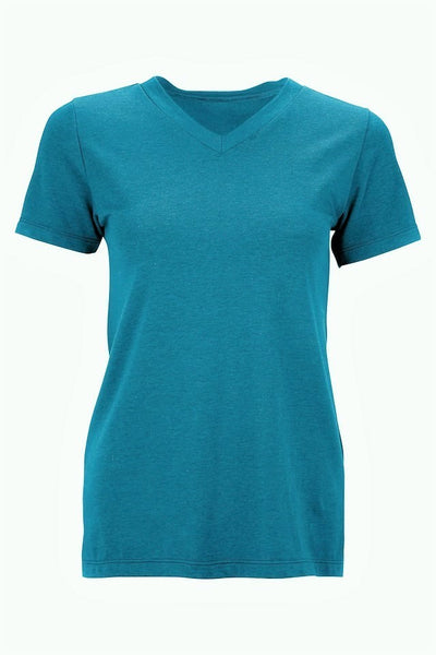 Women activewear Tencel Lyocell short sleeve shirt - aqua blue